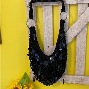 Black Crochet Sequin Bag Retro Bamboo Brand